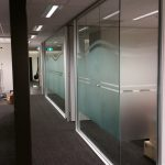 Customised artwork in Frosted etch for office space